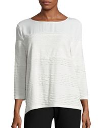 Karl Lagerfeld - White Three Quarter Sleeve Lace-trimmed Crepe Top - Lyst