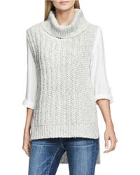 Two By Vince Camuto | Gray Sleeveless Turtleneck Knit Pullover | Lyst