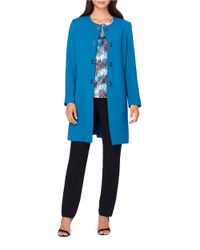 Tahari | Blue Petite Ponte Button-front Topper | Lyst