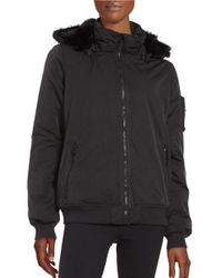 Bench | Black Faux Fur-accented Zip-up Jacket | Lyst