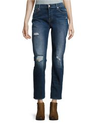 7 For All Mankind | Blue Josefina Distressed Jeans | Lyst