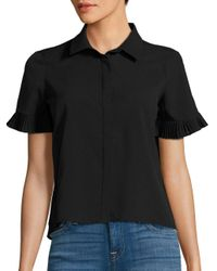French Connection - Black Polly Plains Pleated Shirt - Lyst