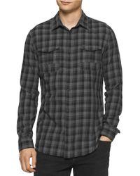 Calvin Klein Jeans | Black Brushed Block Check Shirt for Men | Lyst