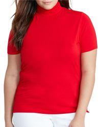 Lauren by Ralph Lauren | Red Plus Jersey Short-sleeve Turtleneck Top | Lyst