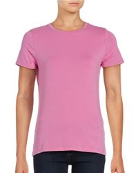 Lord & Taylor | Purple Short Sleeve Compact Cotton T-shirt | Lyst