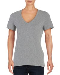 Lord & Taylor | Metallic Cotton-stretch V-neck Tee | Lyst