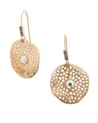 Kensie   Metallic Flora And Fauna Perforated Drop Earrings   Lyst