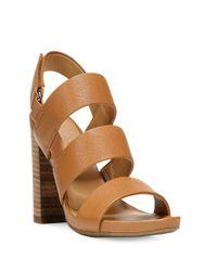Franco Sarto | Brown Jena Leather Strap Sandals | Lyst
