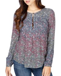 Lucky Brand | Blue Dobby Printed Top | Lyst