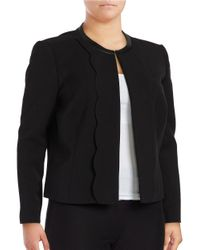 Tahari | Black Plus Faux Leather Trimmed Scalloped Suit Jacket | Lyst