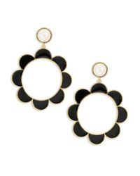 kate spade new york | Black Taking Shapes Faux Pearl Scalloped Drop Hoop Earrings | Lyst