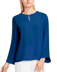 Vince Camuto | Blue Bell-sleeve Keyhole Top | Lyst