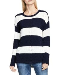 Two By Vince Camuto | Blue Striped Cable Stitch Relaxed Pullover | Lyst