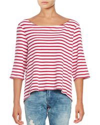Free People | Red Cannes Striped Waffle-knit Top | Lyst