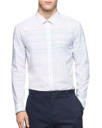 Calvin Klein   White Grid Plaid Sportshirt for Men   Lyst