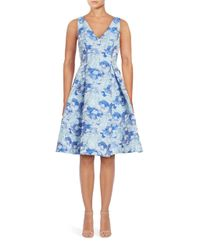 Adrianna Papell | Blue Jacquard Printed Party Dress | Lyst