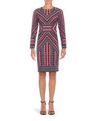 Vince Camuto | Pink Long Sleeve Geometric Sheath Dress | Lyst
