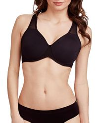 Le Mystere | Black Solid Mesh Mid-impact Sports Bra | Lyst