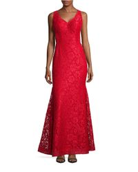Xscape | Red Lace V-neck Mermaid Gown | Lyst