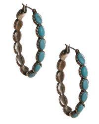 Lucky Brand - Metallic Silvertone Turquoise Hoop Earrings - Lyst
