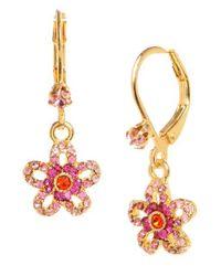 Betsey Johnson - Metallic Crystal Flower Drop Earrings - Lyst