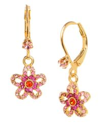 Betsey Johnson | Pink Crystal Flower Drop Earrings | Lyst