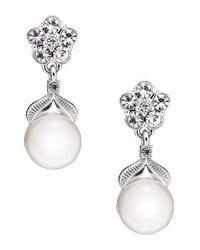 Nadri - Metallic Sparkling Pearl Semi-drop Earrings - Lyst