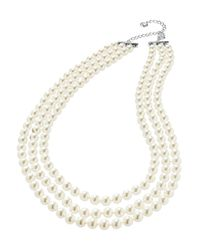 Nadri | White Three-row Pearl Necklace | Lyst