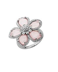 Lord & Taylor | Metallic Rose Quartz And Diamond-accented Ring In Sterling Silver | Lyst