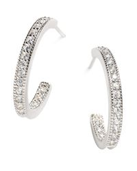 Lord & Taylor | White Sterling Silver Pave Hoop Earrings | Lyst