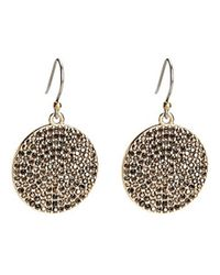 Lucky Brand | Metallic Goldtone Pave Crystal Disc Earrings | Lyst