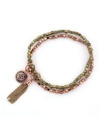 BCBGeneration - Metallic Double Beaded Bracelet In Rose Goldtone - Lyst