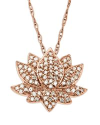 Lord & Taylor | Metallic 14 Kt. Rose Gold Diamond Lotus Flower Pendant | Lyst