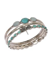 Lucky Brand | Metallic Silvertone And Faux Turquoise Three Bangle Set | Lyst