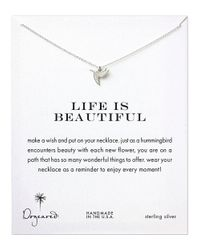 Dogeared | Metallic Sterling Silver Life Is Beautiful Hummingbird Necklace | Lyst