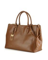 Lauren by Ralph Lauren | Brown Newbury Leather Double Zip Satchel | Lyst