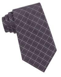 Calvin Klein | Gray Etched Large Grid Windowpane Slim Tie for Men | Lyst