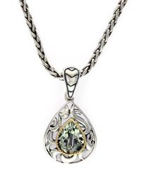 Effy | Black Balissima Sterling Silver 18k Yellow Gold And Green Amethyst Pendant Necklace | Lyst