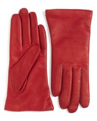 Lord & Taylor | Red Cashmere-lined Leather Gloves | Lyst