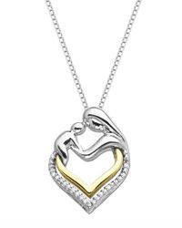 Lord & Taylor | Metallic Sterling Silver And 14k Yellow Gold Heart Pendant With Diamonds | Lyst