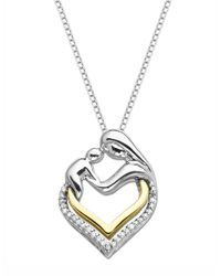 Lord & Taylor - Metallic Sterling Silver And 14k Yellow Gold Heart Pendant With Diamonds - Lyst