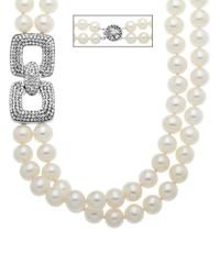 Lord & Taylor - Metallic Sterling Silver Pearl And Crystal Necklace - Lyst
