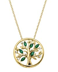 Lord & Taylor | Green 14kt. Yellow Gold Diamond And Emerald Pendant Necklace | Lyst