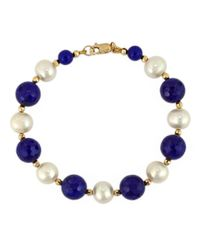 Effy | Multicolor White Pearl, Lapis And 14k Yellow Gold Bracelet | Lyst