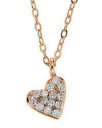 Lord & Taylor - Pink 14kt. Rose Gold And Diamond Heart Pendant Necklace - Lyst