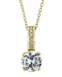 Lord & Taylor | Metallic 18kt Gold And Cubic Zirconia Solitaire Pendant Necklace | Lyst
