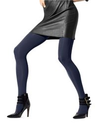 Hue   Blue Seamless Opaque Luxe Tights   Lyst