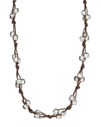 Uno De 50 | Metallic Bead And Leather Opera Necklace | Lyst