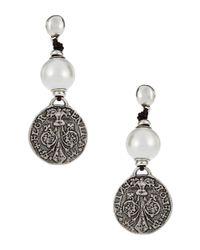 Uno De 50 | Metallic Faux Pearl And Metal Drop Earrings | Lyst