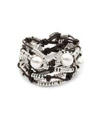 Uno De 50 - Metallic Pearl And Bead Layered Bracelet - Lyst